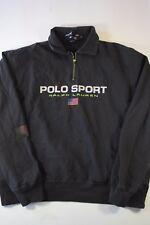 Vintage Polo Sport Half Zip Pullover Sweatshirt Size M black vtg spell out
