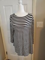 Chico's Size 2  Black and White Stripe Cross Back shirt