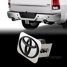 "Black TOYOTA Logo Stainless Hitch Cover Plug Cap For 2"" Trailer Tow Receiver"