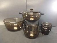 8PC Anchor Hocking Amber Glass Casserole, Mixing Bowls & Custard Cups