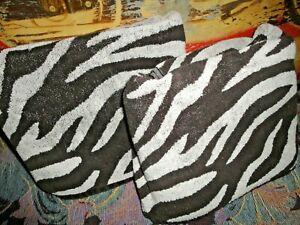 BETTER HOMES ZEBRA STRIPE ANIMAL VERY DARK BROWN WHITE (2P) BATH TOWEL SET 29X46