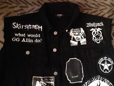 Crust Punk Black Denim Battle Jacket Amebix Discharge Wolfbrigade Subhumans...