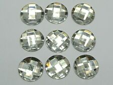 50 Clear Acrylic Flatback Rhinestone Round Gem Beads 20mm No Hole