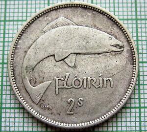 IRELAND 1942 1 Flóirin / 2 Scilling - 2 SHILLINGS / FLORIN, SALMON SILVER PATINA