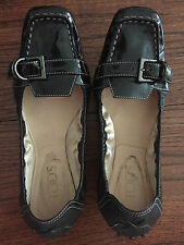 TOD'S BALLERINA FLATS, COMBO BLACK LEATHER & PATENT LEATHER, SIZE 7 1/2
