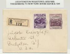 LIECHTENSTEIN 1930 lettre recommandée Housse aux Etats Unis, 10R & 90R Classé (