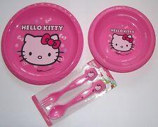 Chicas HELLO KITTY la hora de comer 3 piezas juego de cubiertos de placa, Bowl,