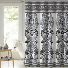 Mariah Black Gray Beige Cream Paisley Cotton Fabric Shower Curtain