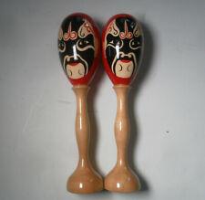 Rare Pair of hand painted maracas Dxp percussion 21cm Wood Australia instrument