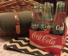 6 Pack Coke Coca-cola Glass Bottles 10oz Green Vintage Rare