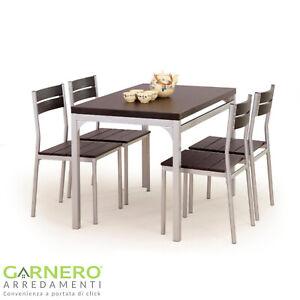 Set tavolo fisso acciaio verniciato  e 4 sedie laminato OASI wengè lunghezza 110