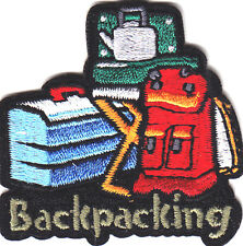 """""""BACKPACKING""""- Iron On Embroidered Applique Patch- Sports, Hiker,Outdoors"""