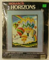 New 1981 Hot Air Balloon Festival Rainbow Counted Cross Stitch Kit Made in USA
