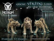 HiTech Miniatures Great Viking Lord Tyr Ulvar Stormbringer on Panzer Wolf (28mm)