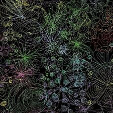 Fabric #2373, Scribbles of Flower Outlines on Black Clothworks, Sold by 1/2 Yard