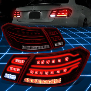 For 09-12 Mercedes E-Class Sedan Red Smoked 3D LED Tail Brake Lights Replacement