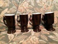 "Black Hall 1272 Irish Coffee Mugs Cups USA 5.75"" Tall!  VINTAGE  Set Of 4"