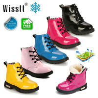 Fashion Children kids Lace Up Martin Boots Boys Girls Leather Toddler Shoes Size