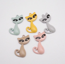 7pcs Mixed Spray Paint Animal Cat Pendant Necklace Finding Pendant Earring Brace
