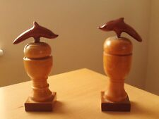 X2 Vintage Two Tone Wooden Dolphin Figurine Statue Ocean Sculpture on Stand.
