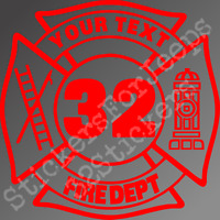 Custom fire fighter maltese cross decal /sticker any color fire department