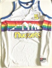 #5 Juwan Howard NUGGETS Jersey Rainbow White NIKE Rare Men's 5XL Length +2