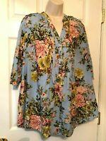 denim 24/7 Women's Blouse Size 14W Blue Multicolored Floral 3/4 Sleeve Shirt Top