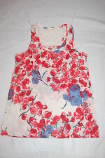 Womens Tank Top BEIGE FLORAL RACERBACK w/ LACE PANEL Red Blue Prim Roses M 8-10