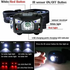 3000LM CREELED PIR Sensor USB Rechargeable Camping Headlamp Headlight Black