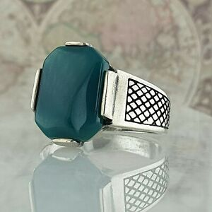 Solid 925 Sterling Silver Mens Ring Green Agate Gemstone Handmade Ottoman Style