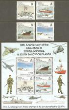 South Georgia Sc#B1 - B4a Mnh Fvf Set-4+Souv Sht Military Ship Jet Soldier Ssafa