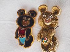 2 Misha Mascot Bear 1980 Olympics Moscow Russia Soviet Union pin badge