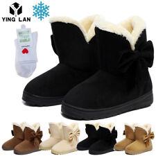 Winter Boots Women's Faux Fur Suede Mid Calf Warm Snow Fashion Size 5 6 7 8 9