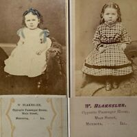 Two CDV's Photo's Of The Same Little Girl Childrens Victorian Fashion One Tinted
