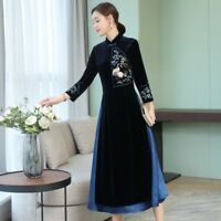 Lady Retro Embroidered 3/4 Sleeve Dress Velvet Cheongsam Chinese Qipao Gown Slim