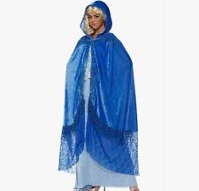 Medieval Fantasy Elegant Cape Sapphire Blue Lace Hood Adult  Victorian Costume
