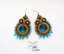 Handmade Soutache earrings kolczyki oorbellen ohrringe swarovski blue gold