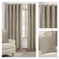 Rapport Luxury Fully Lined Palermo Eyelet Curtains Natural/Mink 4Sizes Available