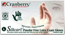 Cranberry Silkcare Latex PF Exam Gloves, Size SMALL, #7816, 1000/case (10 bxs)