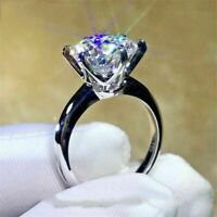 3.00 Ct Round Brilliant Cut Moissanite Engagement Ring In 14K White Gold Finish