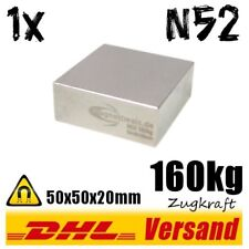 Neodymium Super Rare Earth Magnet 50x50x20mm 5x5x2cm N52 160kg Strong Permanent