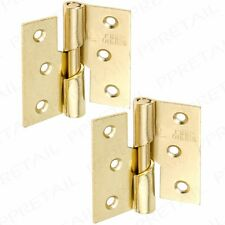 "Pair BRASS LEFT HAND RISING HINGES 75mm//3/"" Strong Steel Lift Off Door Frame Hang"