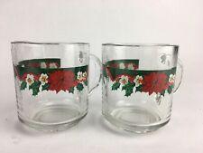 Libbey Duratuff Clear Glass Mugs Christmas Poinsettia Holly Set of 2