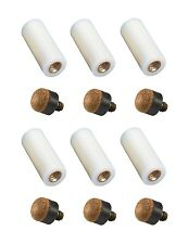 New Set of 6 Screw-In Ferrules and 6 Screw-In Pool Cue Tips - Hard - Size 12mm