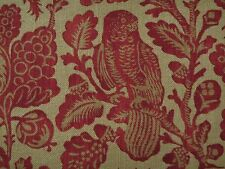 "GP & J BAKER CURTAIN FABRIC DESIGN ""Owls & Fruit"" 6 METRES  RED/SAND 100% LINEN"
