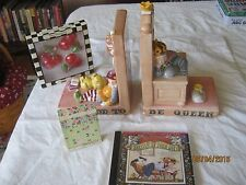 lot of  Mary Engelbreit: It's Good To Be Queen Ceramic Bookends 1994,etc...