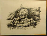 Pen and Ink Drawing - Abandoned Fishing Boat Signed Todd Botontine