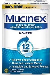 MUCINEX 40 TABLET 600 MG GUAIFENESIN 12 HOUR EXPECTORANT exp 13/2022+ #C7