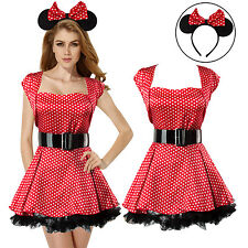 6PCS Women Lady Sexy Adult Minnie Mouse Fancy Dress Costume Outfit Cosplay Party
