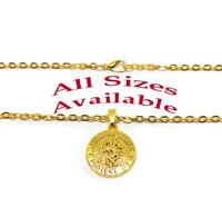 18k Yellow Gold Men's Womens Rolo Link Chain Necklace With St. Christopher Pend.